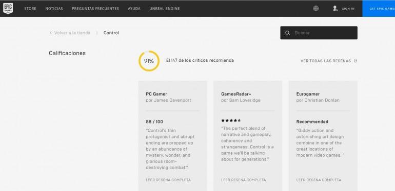 Este es el aspecto que presentan las nuevas reseñas de OpenCritic en Epic Games Store.