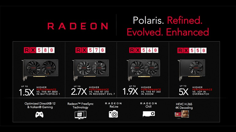 Un claro ejemplo de 'rebranding' lo encontramos en la serie 500 de AMD, la compañía re-lanzó su serie 400 con mejoras en las frecuencias y en las memorias.