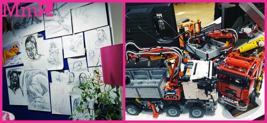 Cuando entras en Media Molecule, lo primero en que fijas son unos bocetos colgados en la pared. Mientras paseas por los escritorios, ves unos camiones y helicópteros de Lego. Al subir las escaleras para llegar al comedor, hay post-its con garabatos por todos lados. La creatividad fluye en un estudio muy pintoresco, verdaderamente único.