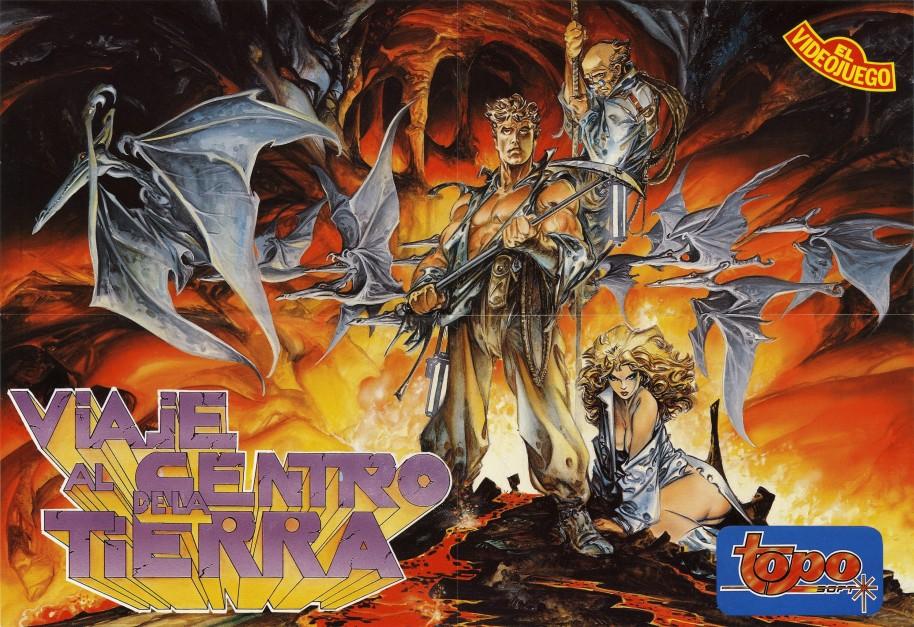 Uno de los espectaculares poster promocionales de la época. En este caso con la hermosa ilustración de Alfonso Azpiri con los tres protagonistas de la aventura y los emblemáticos Pterodáctilos.