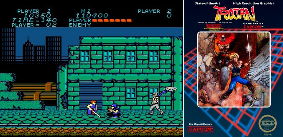 El clásico Trojan de 1986 firmado por Capcom, uno de los videojuegos estrella de los primeros años de la compañía y uno de los títulos fundamentales para entender la génesis de Rescate en el Golfo.