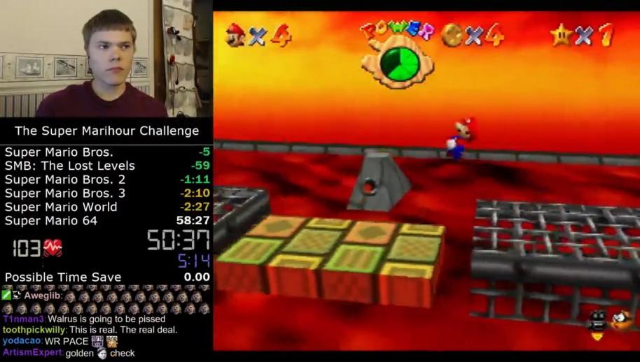 Darbian, otro de los grandes aspirantes al trono del 4:54. Tiene el récord en Super Marihour, acabando en algo más de 56 min. seis Mario distintos.