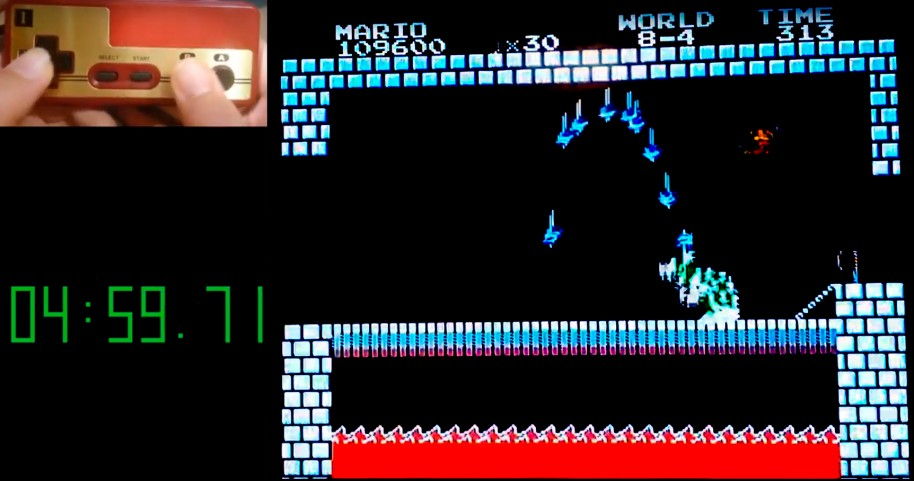 El instante que precede al sub-5 de Alvaca, el único español que ha logrado parar el reloj por debajo de los cinco minutos en Super Mario Bros.