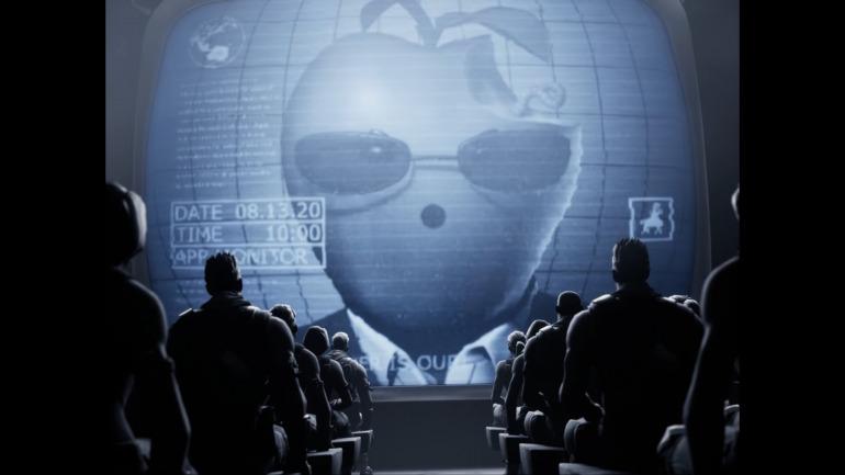 El vídeo parodia un anuncio de Apple publicado en 1984 y dirigido por Ridley Scott.